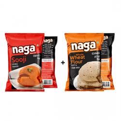 Naga Double Roasted Sooji 1Kg + Atta 1Kg