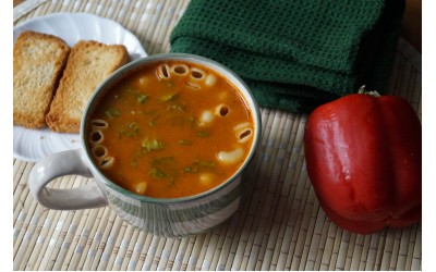 Roasted Bell Paper Pasta Soup