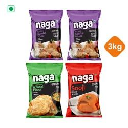 Naga Special 3kg Combo Pack (Sooji 1kg + Maida 1kg + Samba Rava 1kg)