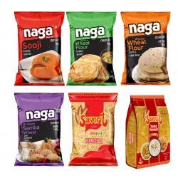 Naga Special Combo Pack (Sooji 2kg + Maida 1kg + Atta 3kg + Samba Rava 1kg + Popular Vermicelli 1kg + Roasted Vermicelli 1kg)